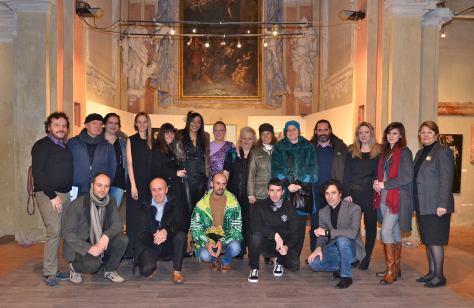 Com alguns artistas de Emotions of the World e outros artistas convidados durante expo na Galeria Rosso Tiziano organizada por EOTW